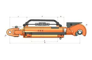 Flowfit-Hydraulique-Haut-Link-Automatic-Attelage-Cylindre-RAM-90x50x250x665mm