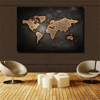 Huge Black World Map Painting Print On Canvas HD Painting  Wall Art Home decor