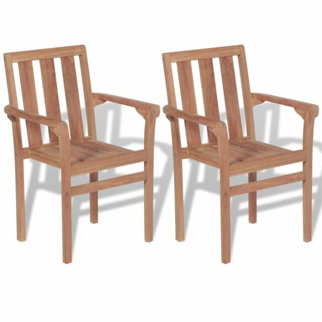 Vidaxl 2x Solid Teak Outdoor Garden Stackable Chairs Dining Stacking Seats