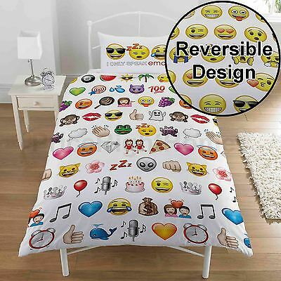 EMOJI MULTI SINGLE DUVET COVER & PILLOWCASE SET BEDDING - UK SELLER