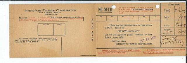 AY-122 Interstate Finance Corporation, Philadelphia Advertising Postcard 1912