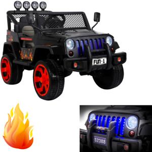 Details Sur Jeep 4x4 Electrique Enfant Voiture Vehicule 4 Moteurs 12 Volts Noir Flamme Pack