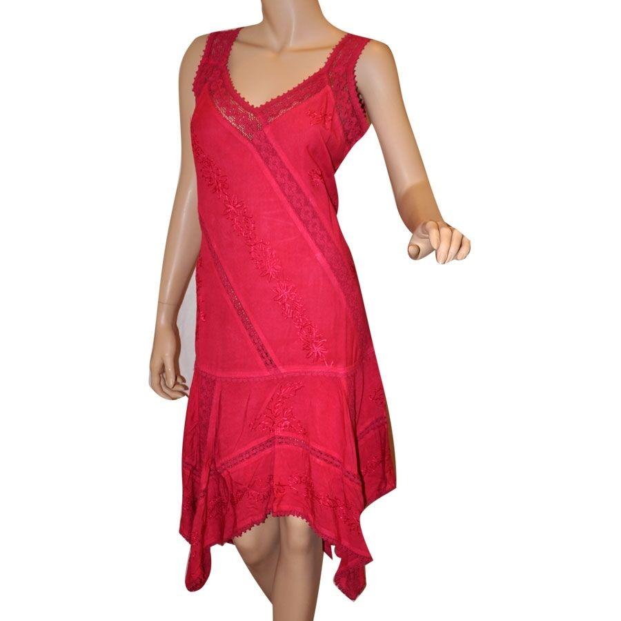 Coline Kleid Zipfelkleid Sommerkleid Viskose Spitze zum Schnüren pink