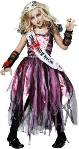 Zombie Prom Queen Child Girl Costume Bloody Sash Dress Legging Arm Warmer Crown