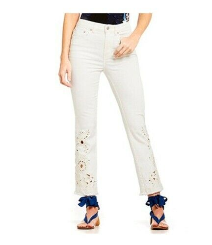 Free People High Rise Cutwork Cigarette Jeans Ivory 25 NWT  128