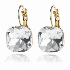 1-Pair-Women-Fashion-Simple-Austrian-Crystal-Dangle-Earrings-Gold-Color-Square-S
