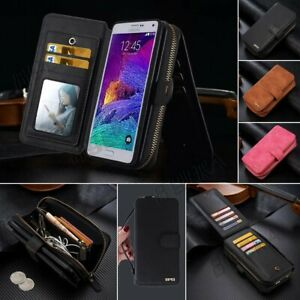 Synthetic Leather Wallet Case Zipper Card Slot Handbag Cover for Samsung Phones