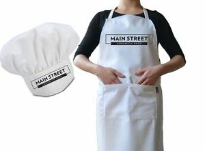 Personalised Cafe Business Chef Hat And Apron Set Drill
