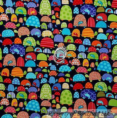 BonEful Fabric FQ Cotton Quilt Blue Rainbow Yellow Polka Dot Circle Star Baby US
