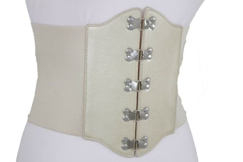 Women Gold Beige Wide Corset Belt Elastic Hip High Waist Stretch Fabric Size S M
