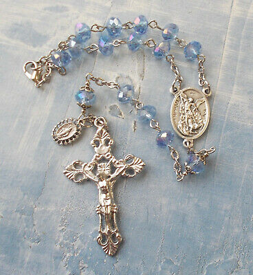 Christopher Silver chain blue faceted single decade pocket car rosary beads St