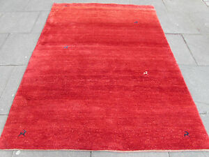 Old-Traditional-Hand-Made-Vintage-Oriental-Wool-Red-Gabbeh-Rug-233x172cm