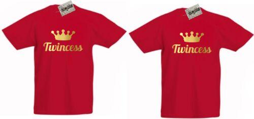 TWINCESS T-SHIRTS X 2 Princess Nice Gift For Twin Girls Christmas Birthday Gold
