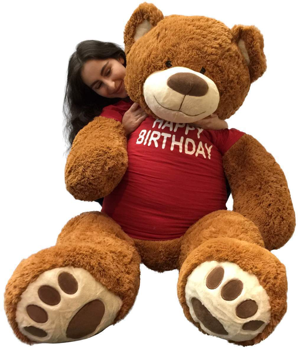 5 Foot Giant Teddy Bear 60 Inches Soft Cookie Dough Brown color HAPPY BIRTHDAY
