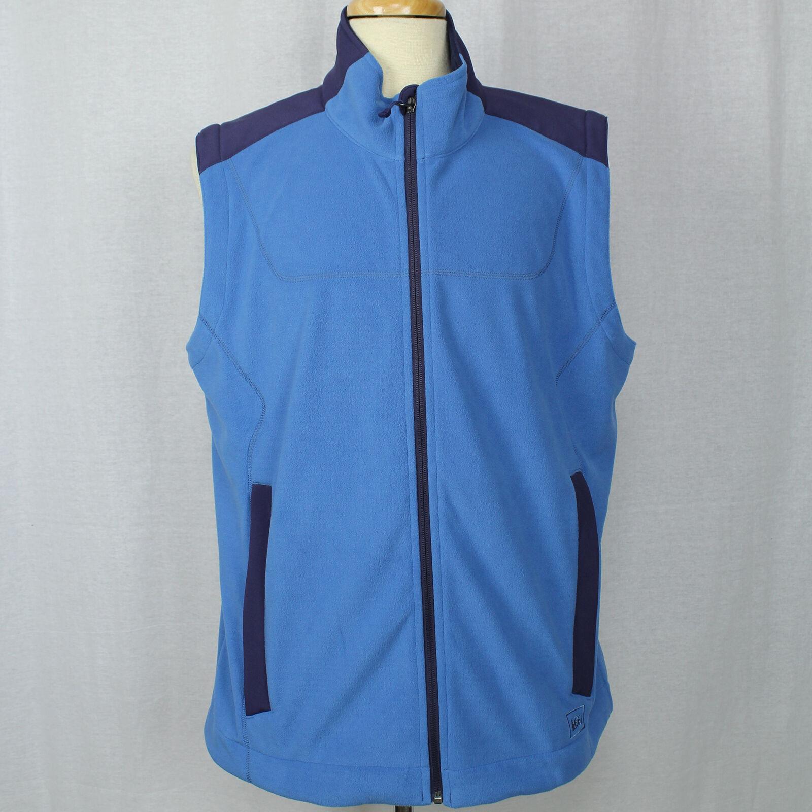 REI Men bluee Zip-Up Fleece Vest 100% Polyester Sz Large EUC