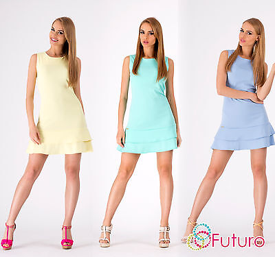 Women's Elegant Tiered Dress Crew Neck Sleeveles Tunic Style Size 8-12 FA293