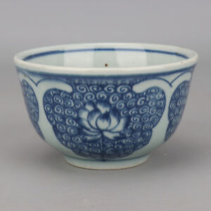 China-antique-Porcelain-Ming-wanli-blue-white-hand-painting-Lotus-bowl-cup