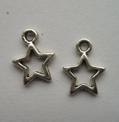 80pcs Tibetan silver Metal alloy stars charms pendant  12x9  mm