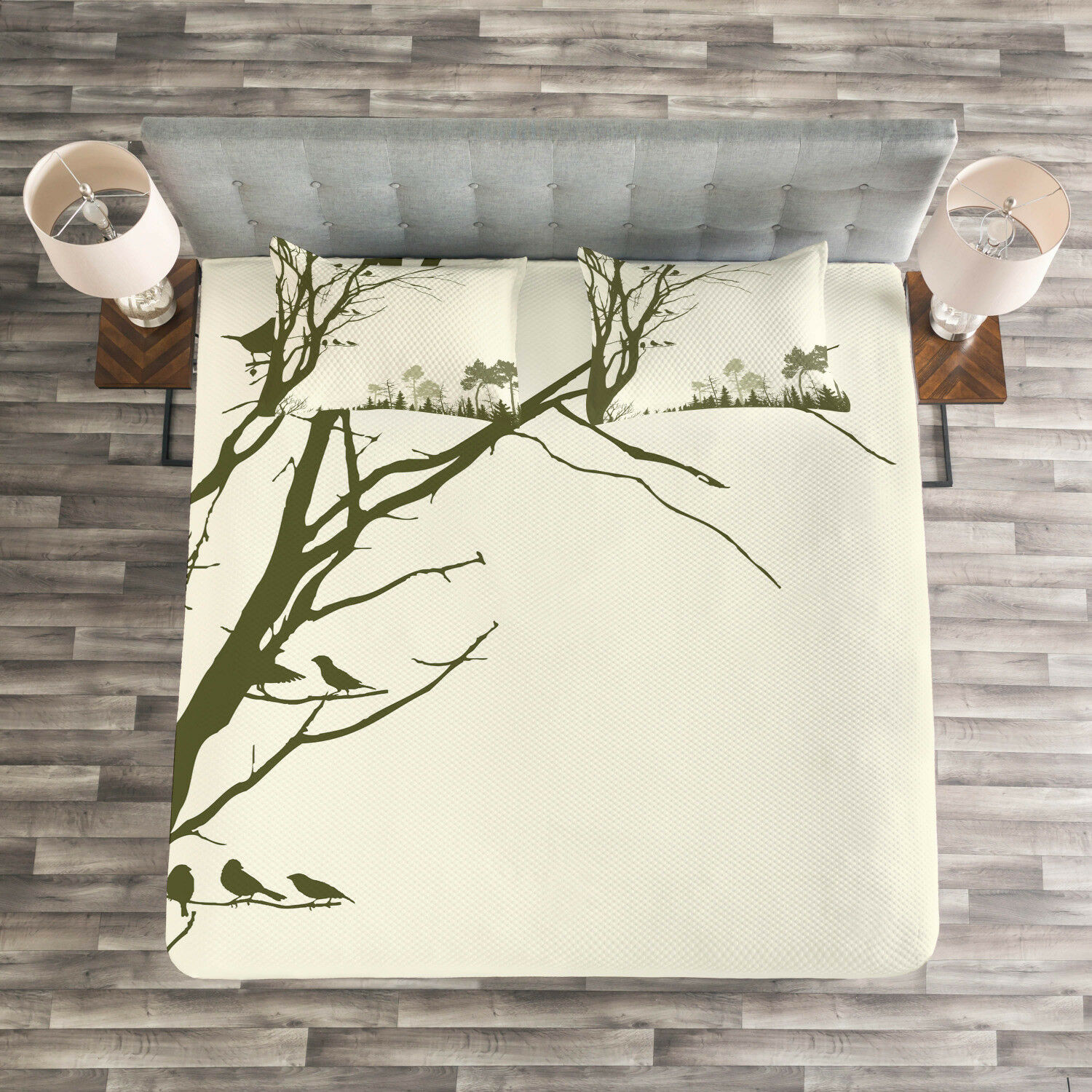 Landscape Quilted Bedspread & Pillow Shams Set, Forest Birds on Tree Print