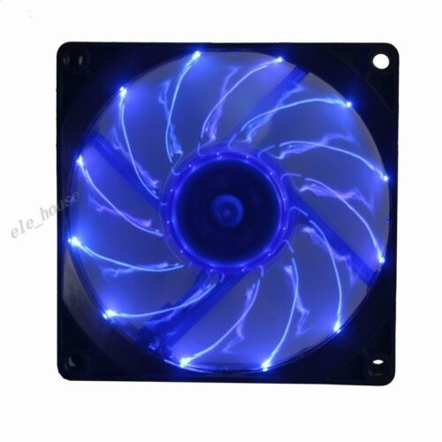 Ultra Quiet Slient Blue LED fan 92mm 12V DC 80CFM PC Case Radiator Cooling Fan