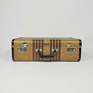 Small-Vintage-Suitcase-Striped-Tweed-18-Samson-Samsonite-Luggage-Antique-1930s