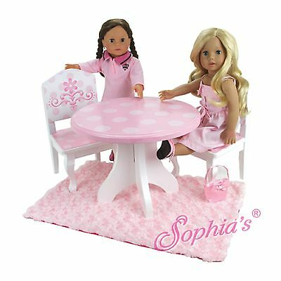 "Sophia/'s PINK /& WHITE HAND PAINTED TABLE /& 2 CHAIRS for 18/"" Dolls American Girl"