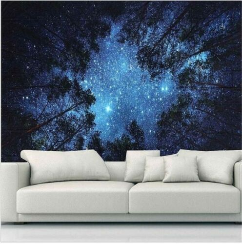 Psychedelic Forest Starry Sky Fabric Wall Tapestry Hanging Tapestry Decor G6O