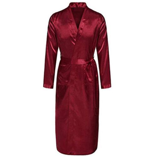 Mens Long Kimono Bathrobes Robes Satin Silk Sleepwear Dressing Silk Nightwear