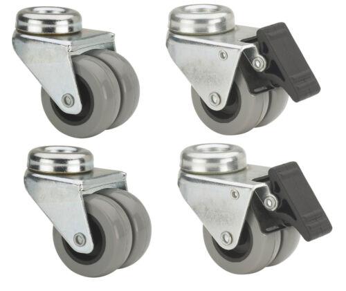 Jeu Double rouleaux 50 75 mm en caoutchouc gris sans laisser de traces rückenloch panier rôle