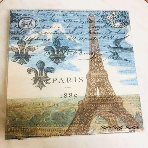 Triple-Ply Decoupage Michel Design Works PARIS Paper Luncheon Napkins 20 pk