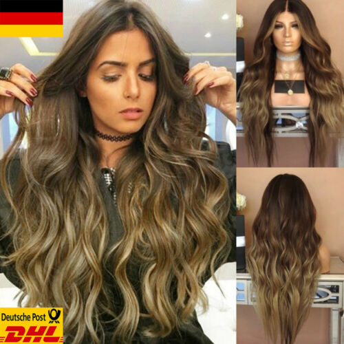 Damen Mode Blond Ombre Haare Lang Gelockt Glatt Volle Perücke Cosplay Party Wigs