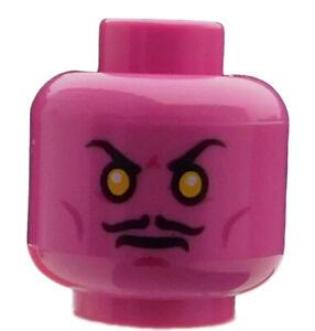 Lego-2-Stueck-Kopf-in-dunkel-rosa-zwei-Gesichter-Sinestro-3626cpb1269-Neu