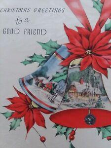 1940s-Vtg-Peek-Window-BELL-Scenes-GOOD-FRIEND-Rust-Craft-CHRISTMAS-GREETING-CARD
