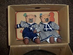 NEW BELLE COEUR BEARS BY ROSS IN NAVY AND WHITE STRIPES COLLECTIBLES FIGURINES
