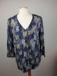 White-Stuff-Grau-Blatt-Print-Baumwollmischung-V-Ausschnitt-3-4-Armel-Bluse-Groesse-12