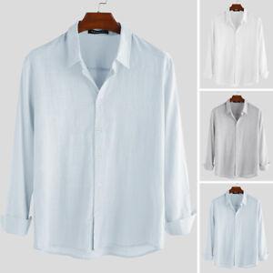 Men/'s Linen Long Sleeve Shirts Casual Loose Dress Soft Tops Blouse Tee AU