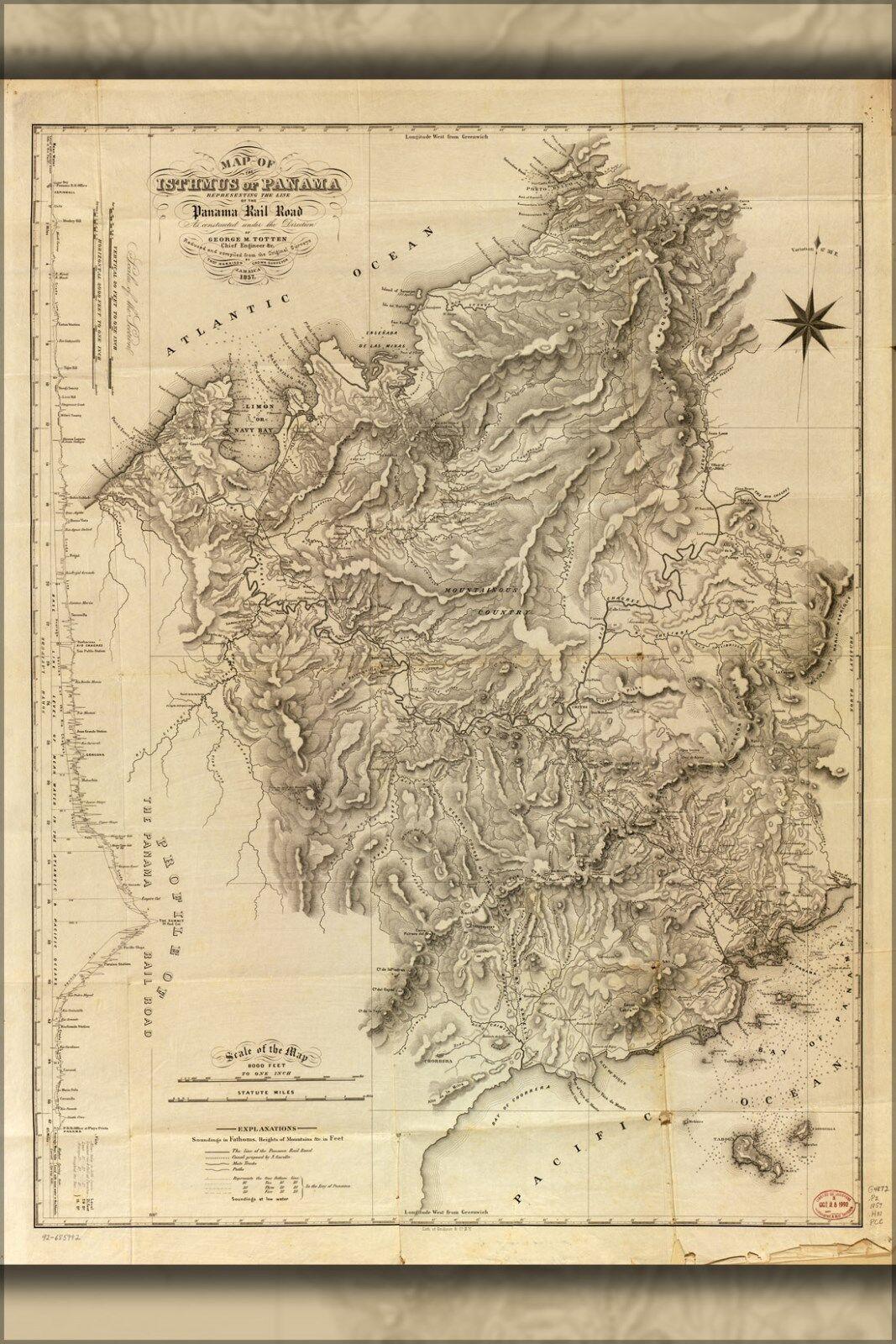 Poster, Poster, Poster, Molte Misure; Mappa Del Panama che Mostra Panama Ferrovia 8ee1d2