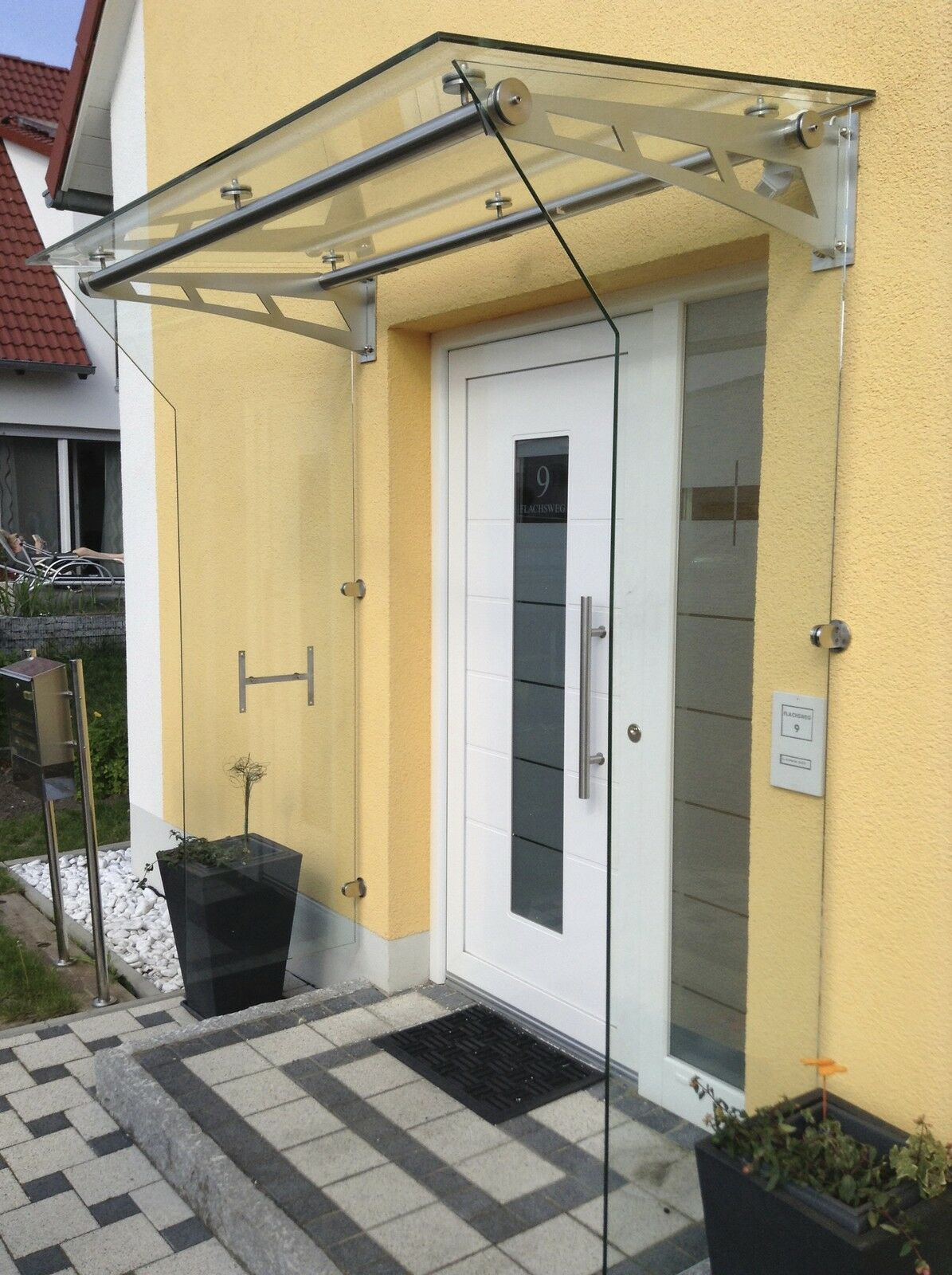 Edelstahl Glas Seitenteil Windfang Typ A