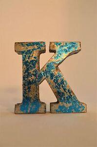 FANTASTIC-RETRO-VINTAGE-STYLE-BLUE-3D-METAL-SHOP-SIGN-LETTER-K-ADVERTISING-FONT