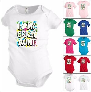 6189b925 I Love my Crazy Aunt Funny Kids T shirt Youth tee Baby Toddler ...