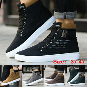 Fashion-Men-Oxfords-Casual-High-Top-Boots-Leather-Shoes-Lace-up-Canvas-Sneakers