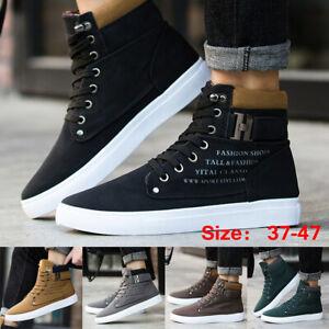 Zapatos-De-Cuero-Moda-Hombre-Oxfords-informal-Botas-De-Tobillo-Alto-Con-Cordones-Zapatillas-De-Lona