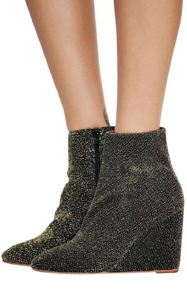 Free People Jeffrey Campbell gold Lame Instant Wedge Wedge Wedge Ankle Boots Size 7 NWOB d7dade