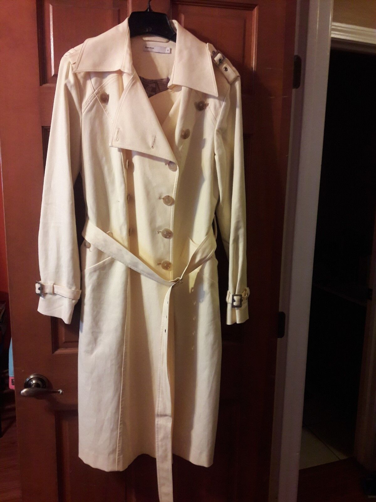 Perry Ellis Ladies Yellow Double Breasted Trench Coat Size 12 FREE SHIPPING