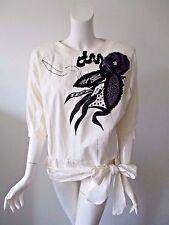 Vintage 80's SHIVAM Ivory Black Patchwork Embroidered Hobo Cotton Top L