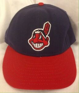 48080ed8c565d Cleveland Indians Blue w Red Brim Home Chief Wahoo Hat Fitted New ...
