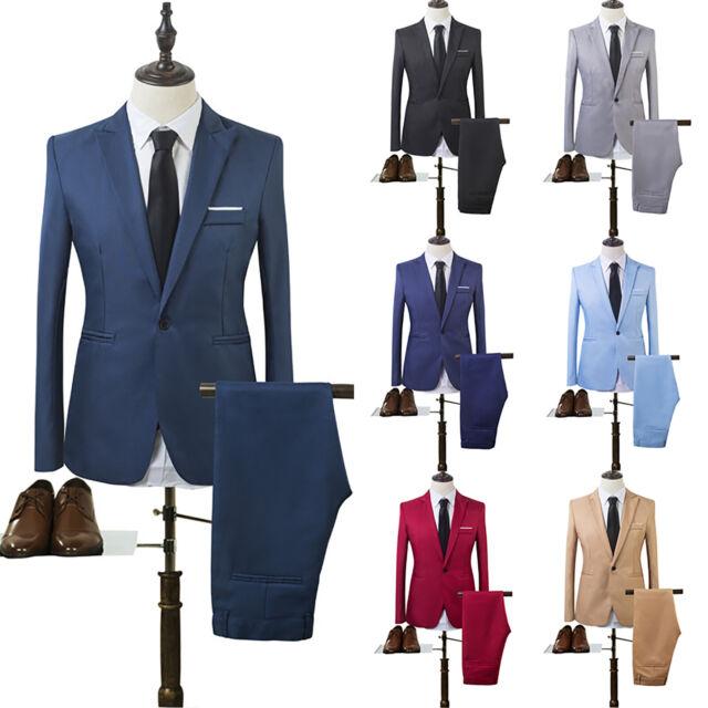 2tlg Herrenanzug Slim Fit Business Blazer Anzug Hochzeit Feier Sakko Jacket Hose