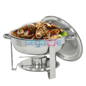 New 5QT Round Chafing Dish Chafer Catering Banquet Buffet Food Tray Warmer