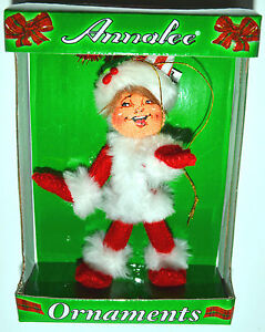 Annalee-Christmas-Red-SHIMMERMINT-ELF-Tree-Ornament-4-034-w-SANTA-HAT-NEW-IN-BOX