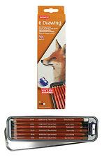 Derwent Suave Dibujo Lápices Set - 6 Neutro marrón Colores Con Estaño Y Sacapuntas